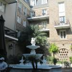 The courtyard fountain and some of the courtyard view rooms