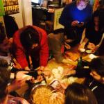 Dumpling making in the common room