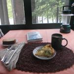 Broccoli quiche for breakfast with a view of the river