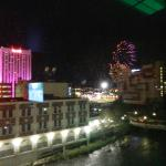View of fireworks and part of downtown Reno from room