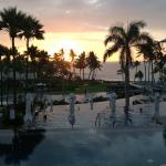 sunset over the infinity pools