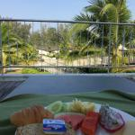 Nice and quiet breakfast by the pool, away from the mob