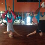 Aerial yoga offered at the spa
