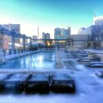 View from the exercise room overlooking the rooftop pool (post ice storm).