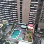 Pool view from the premier wing corner room of the 17th floor.