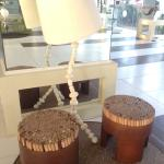 The seat is made of wooden sticks but is very comfy - one of the many funky furnitures at the lo