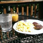 "We cooked a ""mountain breakfast"" daily and enjoyed on our deck"