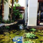 Waters surrounding front of hotel