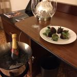 Surprise anniversary champagne and chocolate covered strawberries from the thoughtful front desk