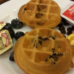 1 fresh blueberry; 1 fresh chocolate chip waffle.  Delish!!