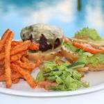 Gourmet Cheeseburger with Sweet Potato Fries