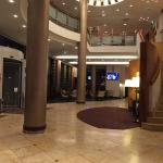 Hotel lobby with back to desk. Very nice.