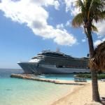 Beach area, freshwater pool and view of cruise ship mooring.