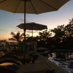 Pool area at Hotel Parador at sunset