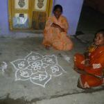 Mamalipuram :Early morging Tradition : Drawing a Kolam To welcome the auspicious