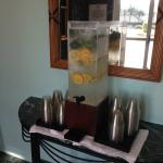 Delicious citrus/mint water near pool area