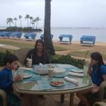 Eating near beach while it's raining off n on