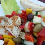 Greek Salad at the poolside restaurant at Villa Estancia
