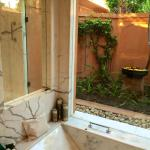 My bathroom with high fences-in lanai