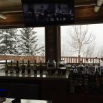 Bar area - view obscured by falling snow