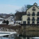 View of the Inn from across the river (upper left window is room 303)