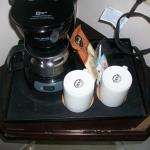Coffee station in our room in disrepair.