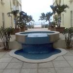 The fountain between the resort office and the pool/beach area