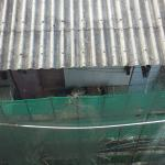 Broken Window and View of Boat Storage Facility