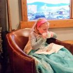 My daughter enjoying her Hot Chocolate in the pub
