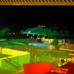Night view of the pool area from Las Chivas restaurant