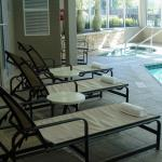 Relax on our indoor pool deck after a long day.