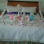 Birthday decorated bed