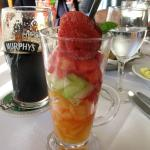 Delicious fruit and sorbet starter