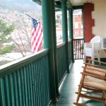 rocking chairs on 3rd floor balcony