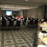 meeting room and food table set up