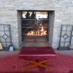 warm and inviting fireplace in the lobby