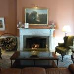 One of two lobby fireplaces in the Gideon Putnm Hotel