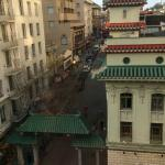 View of gates to Chinatown from my room on the 6th floor (corner room over Grant and Sutter Stre