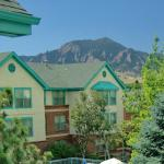 Rocky Mountains behind the Homewood Suites Boulder Hotel