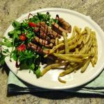 Tagliata or Steak with Salad and Beans from the Garden