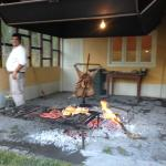 Grilling the Patagonian lamb for the asado parrilla