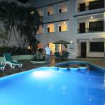 Swimming pool area in the evening