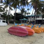 Beach cabana rental equipment: kayaks, paddleboards, paddleboats, snorkels