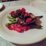Brie stuffed portobello mushrooms with asparagus, beet risotto, and fig-pistachio chutney
