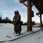 Carved bear greeting guests
