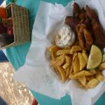 Fish and chips at the restaurant