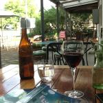 Well-earned glass of local shiraz