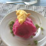 Beets, cardamon, and mint sorbet - amazing