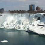 Zoom View of Canadian Falls in Winter