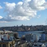 View from hotel pool and sunbathing area towards Valetta